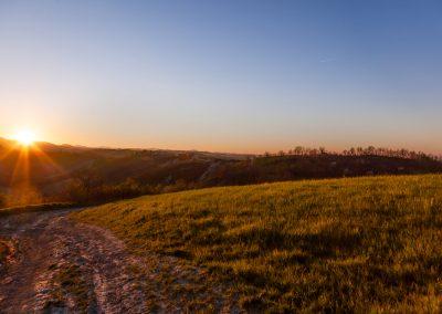 Dolci colline al tramonto